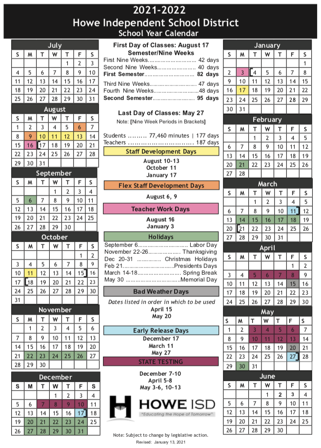 Wylie Isd Calendar 2022.Home School Year Calendar Howe Independent School District